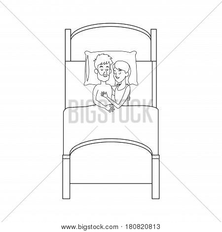 happy couple slepping at the bed, cartoon icon over white background. vector illustration