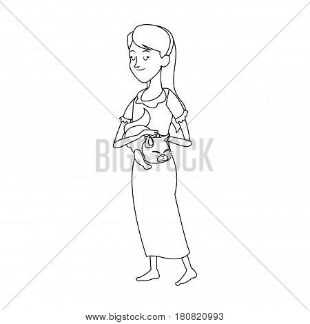 slepping woman, cartoon icon over white background. vector illustration