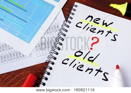 New clients or old clients written in a note. Customer Acquisition concept.