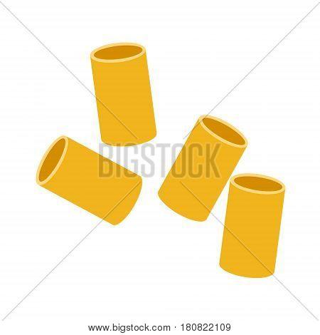 Cannelloni pasta. Raw pasta, macaroni, cartoon illustration isolated on a white background