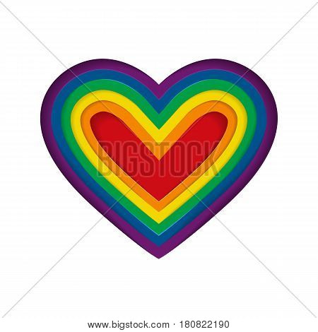 Lgbt Rainbow Heart. Vector Illustration.lgbt Pride Flag In Vector Format. Homosexual Love And Flag.