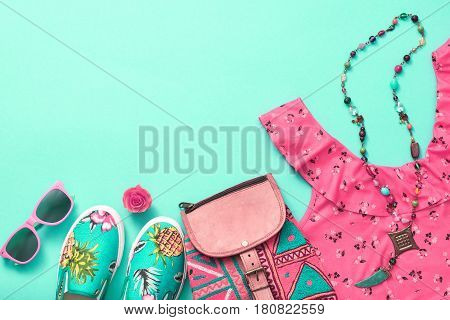 Fashion Woman Clothes Accessories Set. Summer Girl. Urban Street Outfit.Trendy Hipster Dress, fashion Backpack, summer Sunglasses, Stylish Gumshoes. Glamor fashion hipster Look. Design.Art Minimal