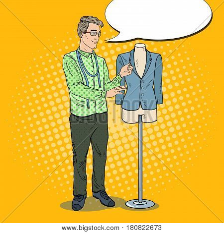 Male Fashion Designer with Jacket on a Mannequin. Textile Industry. Pop Art retro vector illustration