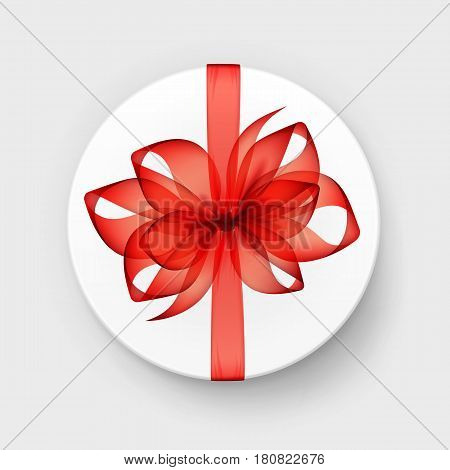 Vector White Round Gift Box with Transparent Red Scarlet  Bow and Ribbon Top View Close up Isolated on Background