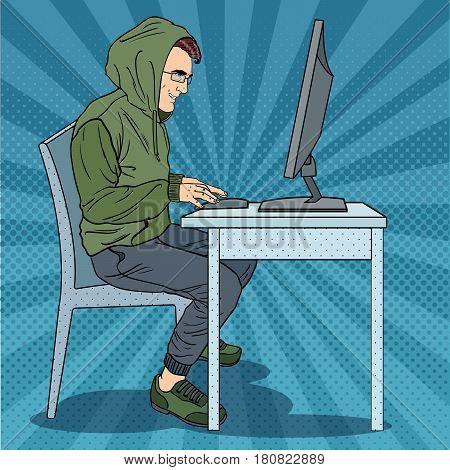 Hacker Hooded Man Stealing Information from Computer. Cyber Crime. Pop Art retro vector illustration
