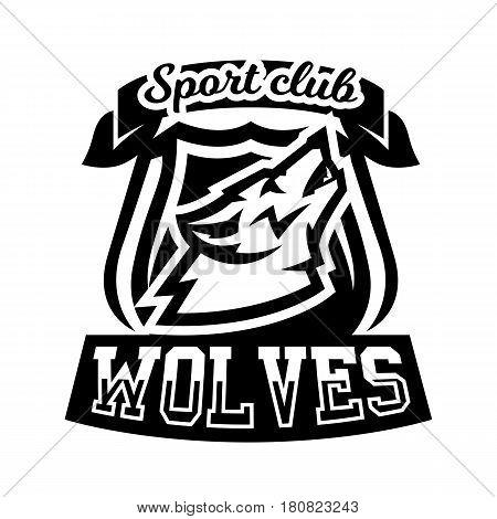 Monochrome logo, emblem, howling wolf. Forest predator, mascot, sports club Isolated vector illustration