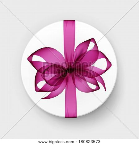 Vector White Round Gift Box with Transparent Pink Magenta Bow and Ribbon Top View Close up Isolated on Background