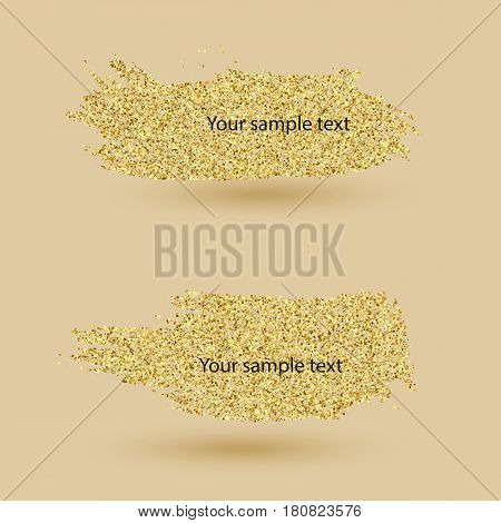 Two Golden banner.Gold glitter particles, Abstract background, banner, card Vector EPS10