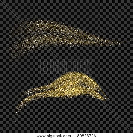 Vector golden sparkling falling star. Stardust trail. Cosmic glittering wave.Vector EPS10