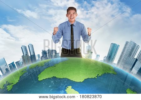 Happy Asian Businessman Standing Behind Earth Planet