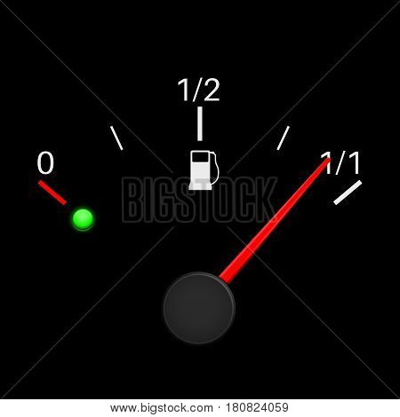 Fuel gauge black. Full tank. Vector illustration