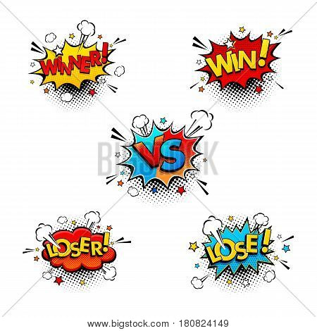 Comic Competition Speech Bubbles Set With Expression Text Win, Winner, Vs Or Versus, Lose, Loser. Ve