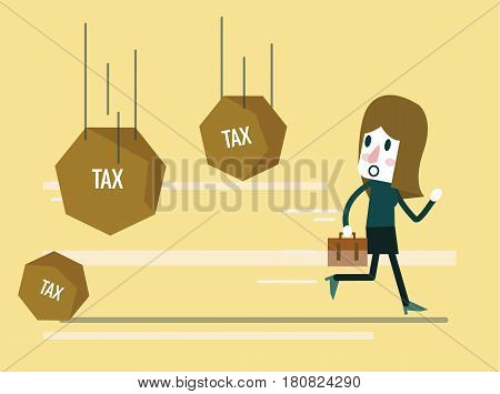 businesswoman running away from tax rock. Abstract background on business tax burden. Flat design elements. vector illustration