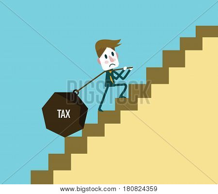 Businessman carrying heavy tax during on the stair up. Abstract background on business tax burden. Flat design elements. vector illustration