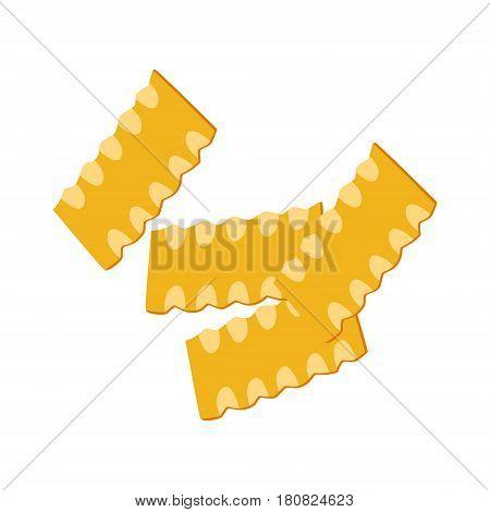 Mafaldine pasta. Uncooked italian pasta, macaroni, cartoon illustration isolated on a white background