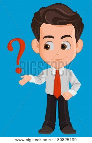 Business man cartoon character. Cute young businessman in office clothes having a question or problem needs advise. Vector illustration