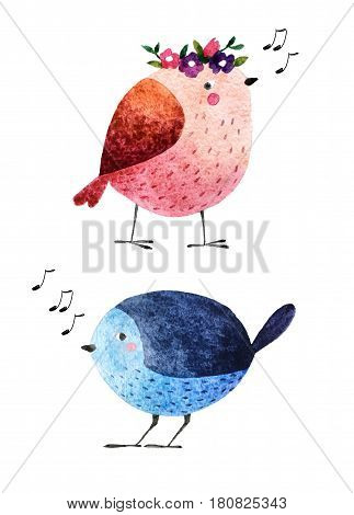 Isolated on white background hand drawn bird. Watercolor singing bird for your design fabric textile wallpaper wrapping paper and others.
