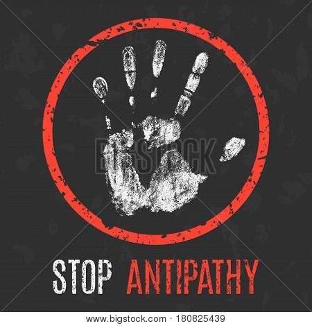 Conceptual vector illustration. Negative human emotions. Stop antipathy.