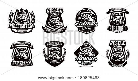 A set of monochrome logos, emblems, a fireman in a gas mask. Rescue unit, fire brigade, shield. Vector illustration