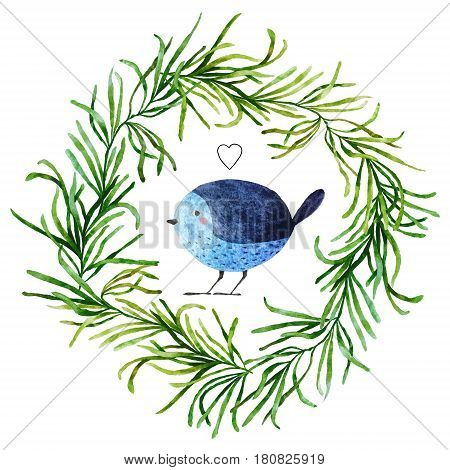 Isolated on white background hand drawn bird. Watercolor bird in flora wreath with little drawn heart for your design fabric textile wallpaper wrapping paper and others.
