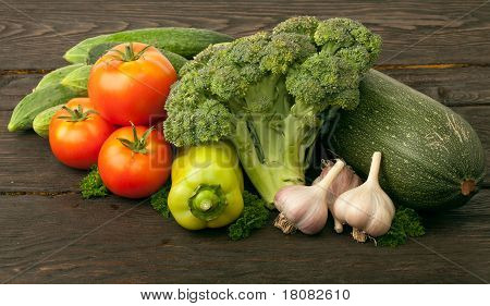 poster of Fresh vegetables: tomatoes, cucumbers, broccoli, zucchini and garlic