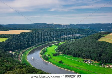 The Panorama Of Landscape In Saxon Switzerland, Germany