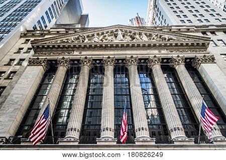 NEW YORK CITY NY - SEPTEMBER 17 2016: Wall Street New York Stock Exchange is the world's largest stock exchange by market capitalization of its listed companies.