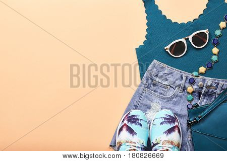 Fashion Design Woman Clothes Accessories Set. Trendy Hipster Denim, fashion summer Sunglasses, Stylish Gumshoes. Glamor fashion hipster Necklace. Summer Girl. Urban Street Outfit. Art Minimal