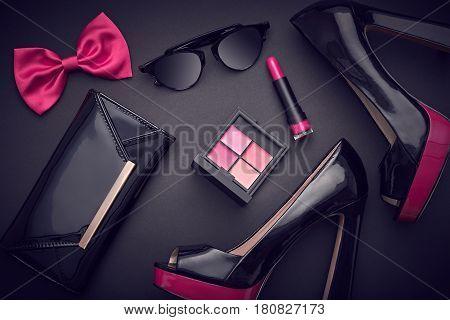 Fashion Design Woman Accessories Set. Cosmetic Makeup. Trendy fashion Sunglasses, Handbag Clutch clothes. Glamor Stylish Black Pink fashion shoes Heels. Luxury Party Night Out lady Black. Art. Minimal