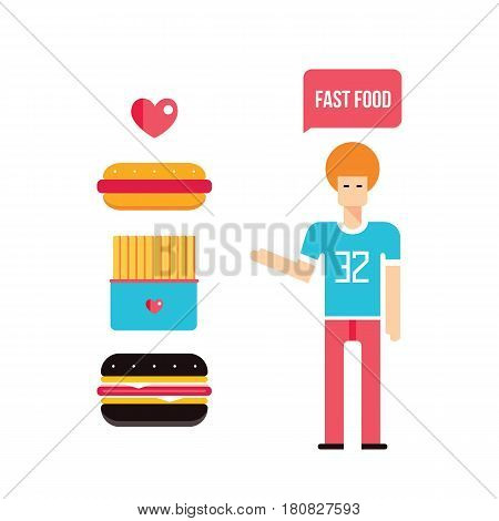 Young man and Fast food icons set Vector illustration
