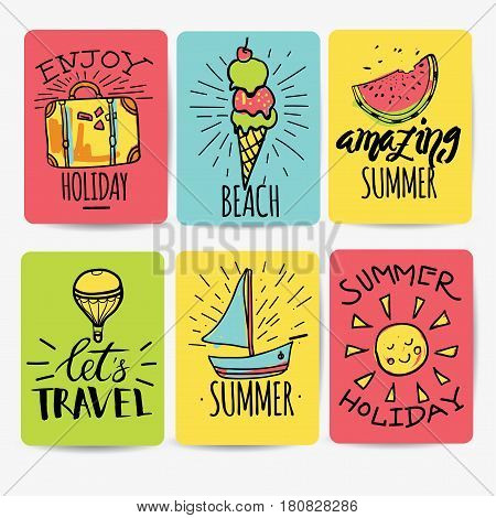 Set of hand drawn watercolor ribbons and stickers of summer. Vector illustrations for summer holiday, travel and vacation, restaurant and bar, menu, sea and sun, beach vacation and party