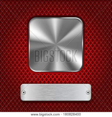 Metal square button with rectangle plate on red stainless steel perforated background. Diamond shape holes. Vector 3d illustration