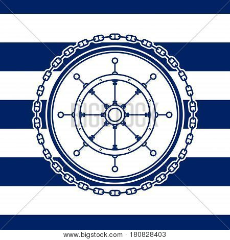 Sea Emblem on a Striped Marine Background,a Ship's Wheel in a Line Style, Vector Illustration