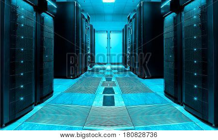 symmetric server room with rows of mainframes in the modern data center, futuristic design