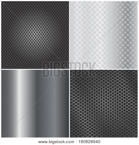 Metal background collection. Brushed steel, perforated, non-slip surfaces. Vector 3d illustration