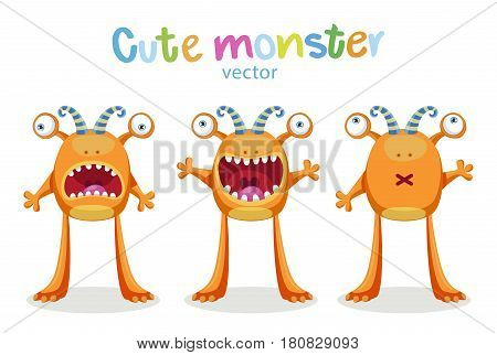 Cute Cartoon Monsters Emotions. Vector Set Isolated On White Background. Cute Animal Monster Expressions And Emotions.
