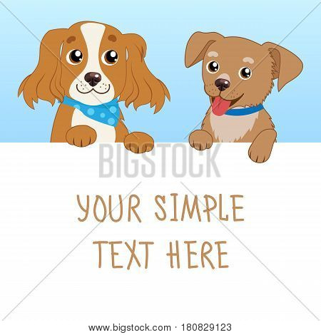 Nice Pet. Cartoon Vector Illustration Of Funny Dogs With White Card Or Board Greeting Card Design. Dog With Empty Board On White Background.