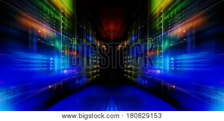 fantastic view of the mainframe in the data center row