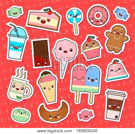 Set of cute kawaii food emoticon stickers. cupcake ice-cream donuts candy croissant and etc. Collection emoticon manga cartoon style. Vector illustration. Adorable characters icons design