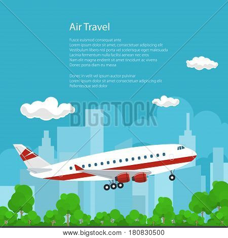 Airplane on the Background of the City Flies to the East and the Text ,Air Travel Concept, Brochure Flyer Poster Design , Vector Illustration