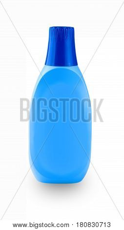 Blue plastic bottle with household chemicals on a white background