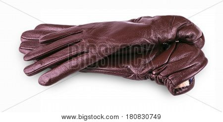 Brown leather female gloves on a white background