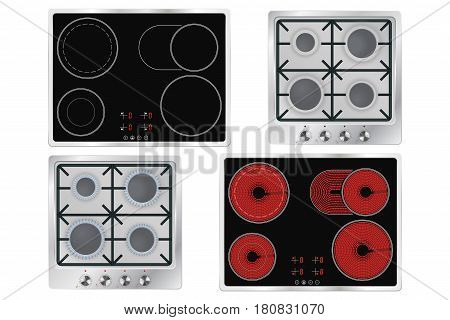 Cooktops. Gas, electric, ceramic. Vector illustration isolated on white background