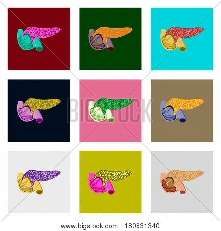 icons set in flat style human organ duodenum and pancreas
