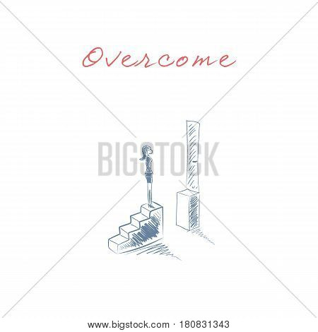 Business woman standing on top of stairs. Symbol businesswoman challenges, obstacles and barriers in career, corporate ladder growth. Hand drawn sketch design. Eps10 vector illustration.