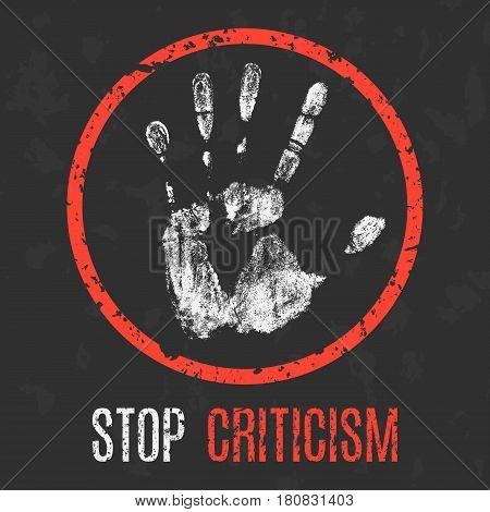 Vector illustration. Social problems of humanity. Stop criticism.
