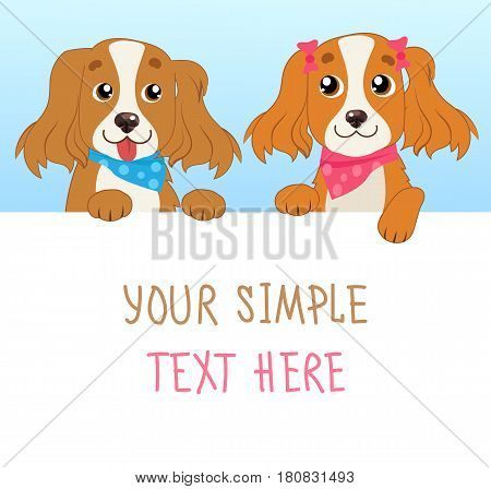 Shaggy Dogs. Cartoon Vector Illustration Of Funny Dogs With White Card Or Board Greeting Card Design. Dog With Empty Board On White Background.
