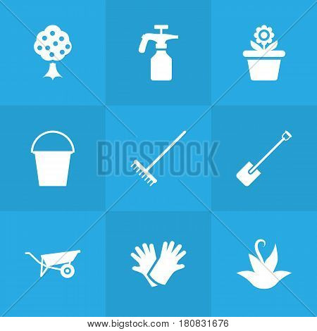 Set Of 9 Horticulture Icons Set.Collection Of Garden, Spray Bootle, Bucket And Other Elements.