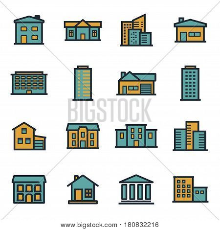 Vector flat buildings icons set on white background