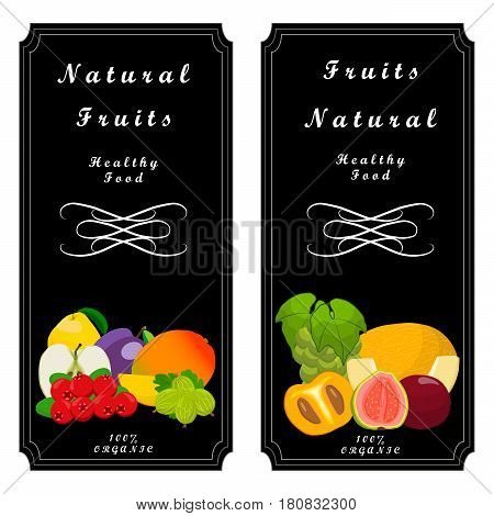 Vector illustration logo fruit:melon strawberries kiwi watermelon persimmon pomegranate coconut strawberry passion fruit goji berry guava cranberry gooseberry papaya mango.
